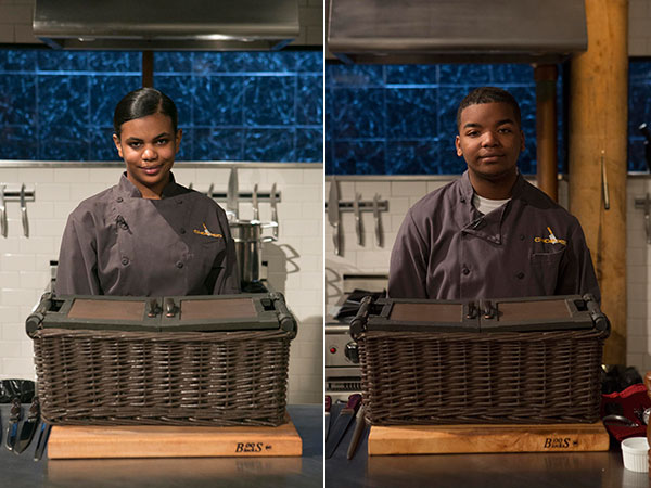Teen competitors Alexandria Brooks (left), 16, and Dante Foggy, 17, as seen on Food Network´s Chopped, Season 21. (David Lang/Food Network)