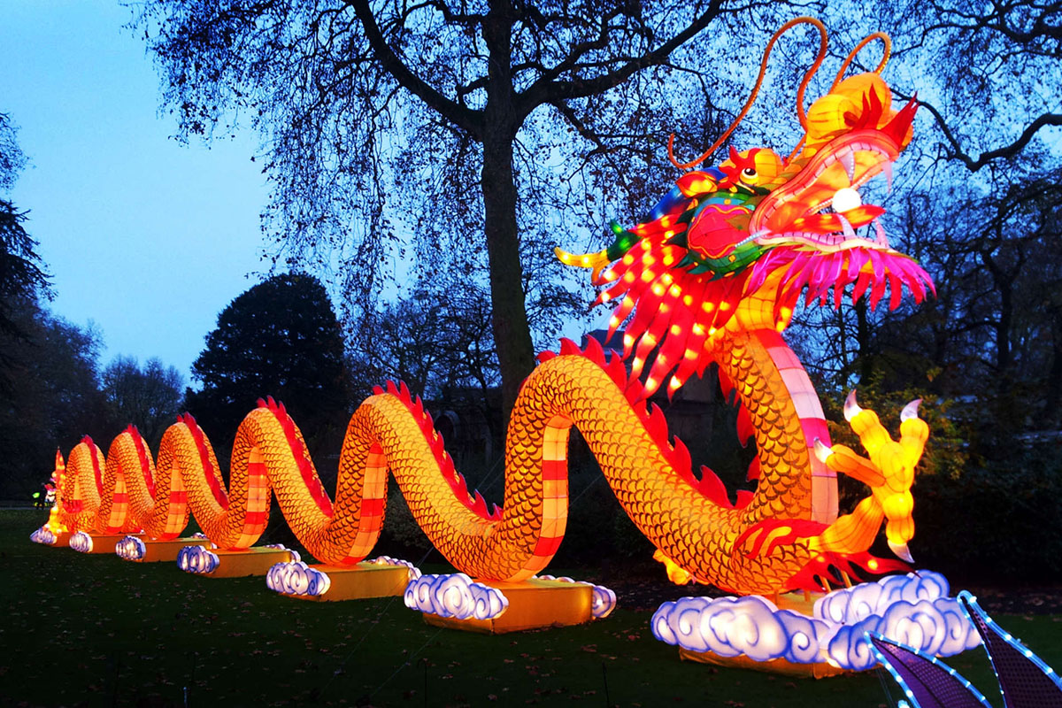 The 200-foot dragon lantern, a crowd favorite of the traveling show in other U.S. cities, is at the Franklin Square festival.