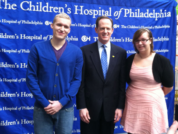 "Rachel with ""Living with the New Normal"" blogger, Alex Rotzal, and Senator Toomey."