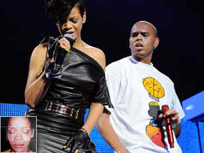 Chris Brown, right, performs with Rihanna at a New York concert. Inset: Photo of Rihanna posted on TMZ.com. (File photo)
