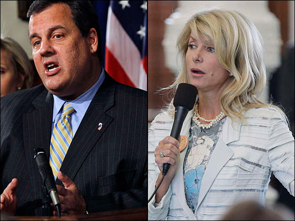 N.J. Gov. Chris Christie and Texas state Sen. Wendy Davis (AP file photos)
