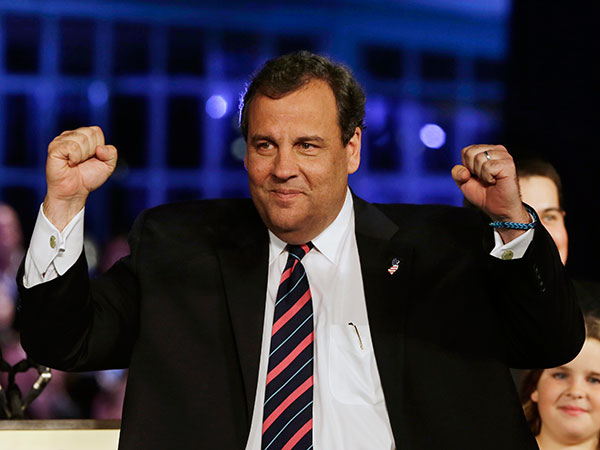Republican New Jersey Gov. Chris Christie celebrates his election victory in Asbury Park, N.J., Tuesday, Nov. 5, 2013, after defeating Democratic challenger Barbara Buono. (AP Photo/Mel Evans)