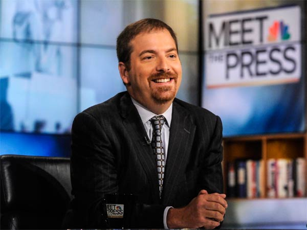 """This Sept. 1, 2013 photo released by NBC shows NBC Political Director Chuck Todd on """"Meet the Press"""" in Washington. NBC News says Todd will replace David Gregory as moderator of """"Meet the Press."""" He begins Sept. 7. Gregory, who has hosted the Sunday morning public-affairs program since 2008, will leave the network. He had been with NBC News since 1995. (AP Photo by/NBC, William B. Plowman, File)"""