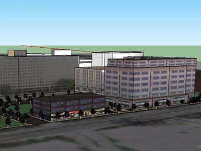 A graphic representation of redevelopment at 1 Belmont Ave., as seen from Belmont Avenue & St. Asaphs Road.