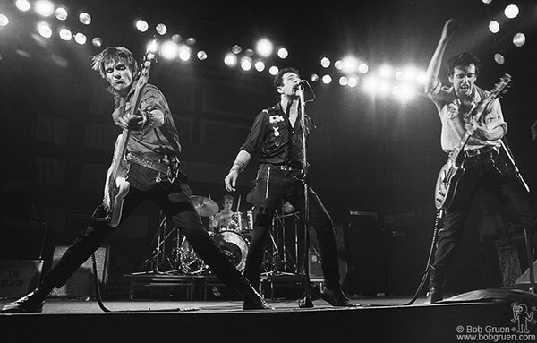 Paul Simonon (from left), Topper Headon, Joe Strummer and Mick Jones of The Clash live in Boston on Feb. 16, 1979. <br /><br /><br />Image #: R-104