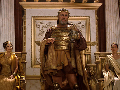 "From left: Polly Walker as Cassiopeia, Vincent Regan as King Kepheus, and Alexa Davalos as Andromeda in""Clash of the Titans."""