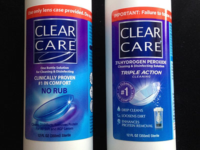 Old (left) and new Clear Care label.
