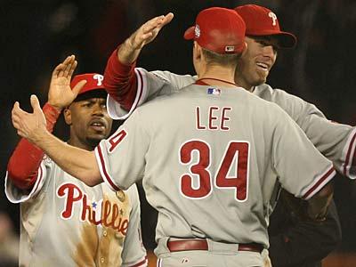 Cliff Lee fanned 10 batters and led the Phillies to a victory over the Yankees in Game 1 of the World Series. (Yong Kim / Staff photographer)
