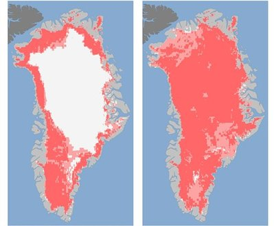 Fearsome, if mysterious, images of climate change: On the left, Greenland´s surface ice on July 8, 2012. On the right, July 12. The composite images from three NASA satellites show that the extent of summer melt accelerated from 40 percent of the surface to 97 percent in four days.  Most of the thick ice below remains, but scientists say the breadth and speed of the surface melt was unprecedented, and thus far unexplained. (AP Photo/Nicolo E. DiGirolamo, SSAI/NASA GSFC, and Jesse Allen, NASA Earth Observatory)