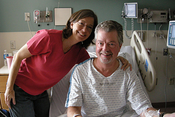 The author and her husband just before his first surgery for a brain tumor in October 2007.