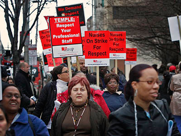 This photo was taken in April 2010 when Temple University Hospital nurses launched a strike in Philadelphia. (Alejandro A. Alvarez / Staff Photographer)