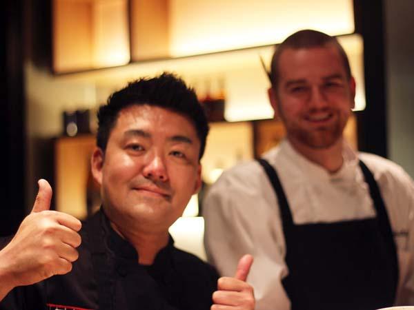 "Hiroyuki ""Zama"" Tanaka (left) and chef de cuisine Chris Paulikas at coZara."