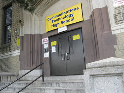 Exterior photo of Communications Technology High School, in Philadelphia. A former principal has surrendered academic credentials.