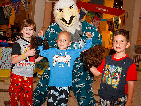 Swoop and kids at the 2013 ConKerr Cancer PJ Party at the Please Touch Museum.