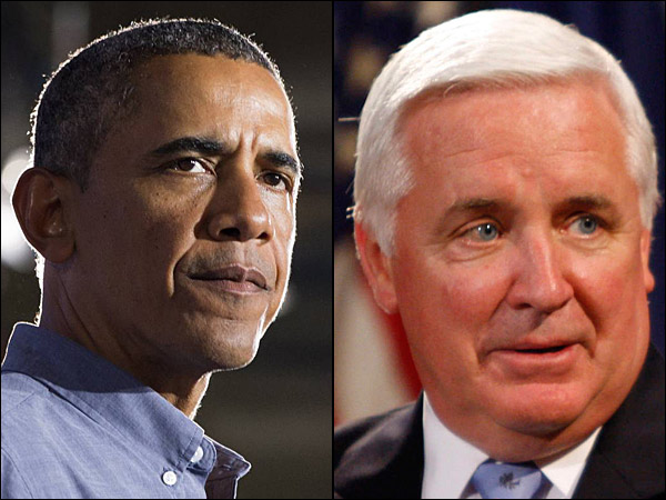 Gov. Corbett (right) is handed another legal loss on voter ID, but a national poll on President Obama (left) suggest possible good news with voters.