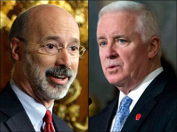Republican Gov. Corbett (right) and Democratic opponent Tom Wolf.