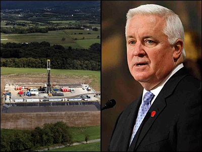 A Marcellus Shale gas-drilling site near Latrobe. Gov. Corbett on Tuesday reiterated his pledge not to act on any natural-gas legislation until he can  review recommendations in a report due in July.<br />