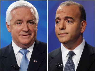 A poll shows Democratic gubernatorial hopeful Dan Onorato, right, has gained on Republican Pennsylvania Attorney General Tom Corbett, left, in the race for governor. (AP Photo/Matt Rourke)