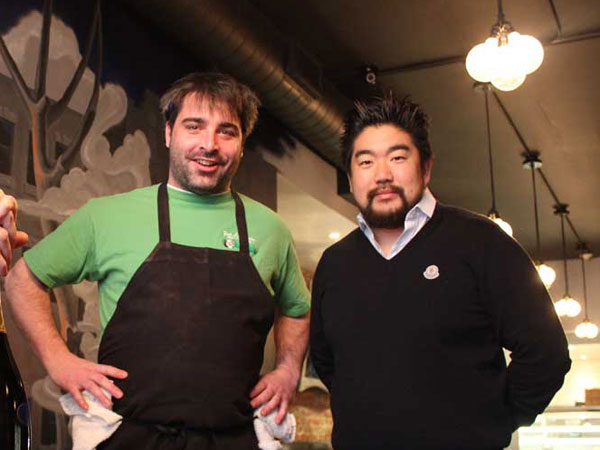 John Taus (left) with The Corner/Foodery owner Tony Rim.