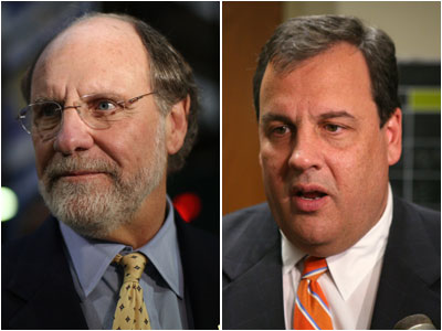 Former Gov. Jon Corzine, left, and current Gov. Chris Christie.