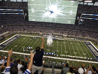 Dave Spadaro, an employee of the Eagles, spit on the centerfield star at Cowboys Stadium on Sunday. (AP Photo/Sharon Ellman)<br />