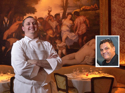 Chef Chris Painter (at Angelina in 2003) is getting a set-up from Stephen Starr, inset.