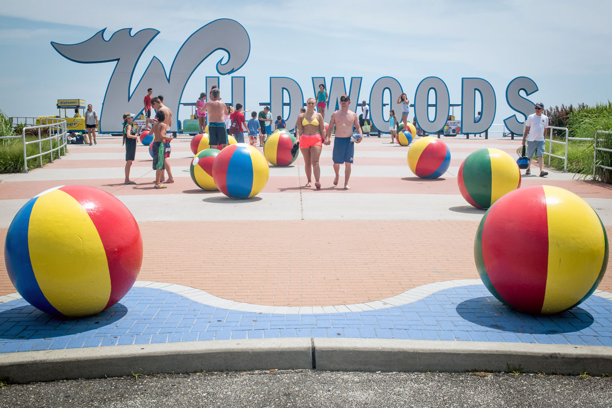 "The concrete beach balls on the Wildwood Boardwalk. Two towns on the island want to carve out their own identities: North Wildwood wants to be known as Anglesea, and Wildwood Crest touts itself as ""better"" than the others."