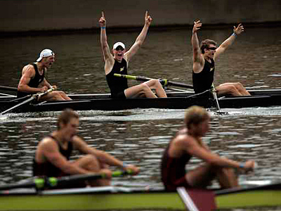 Purdue´s team cheers after crossing the finish line to win the Men´s Varsity Heavyweight Eight final at the 2008 Dad Vail Regatta. (Laurence Kesterson / Staff)