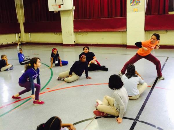 BalletX dancer Caili Quan with Andrew Jackson School students.