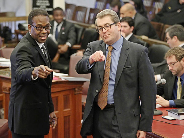 Council President Darrell Clarke and SRC chairman Bill Green at a hearing in May 2014. (Michael Bryant/Staff)
