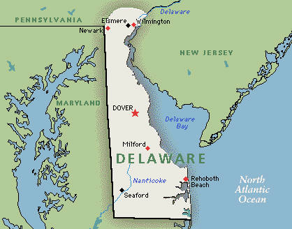 "Map of Delaware, which DEP Secretary Krancer says is ""shaped like a dog with a tail."" (www,greenwichmeantime.com map)"