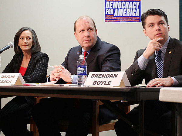 Candidates Dr. Valerie Arkoosh, left, State Sen. Daylin Leach, center, and State Rep. Brendan Boyle have gone into their own pockets to pay for their campaigns for the 13th District U.S. House seat.
