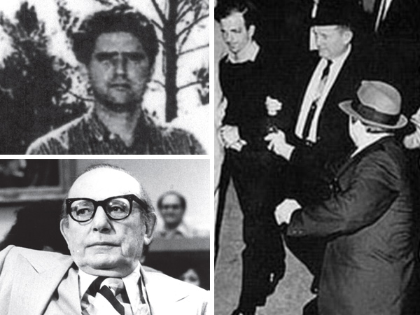 "Herminio Diaz Garcia (top left) said he took part in the JFK assassination, according to ""Not in Your Lifetime,"" by Anthony Summers. A known assassin, Diaz reportedly was an associate of mob boss Santo Trafficante (lower left) and even knew Jack Ruby (shown firing at Lee Harvey Oswald)."