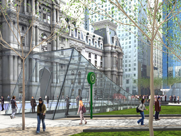 A rendering of a view of a renovated Dilworth Plaza.