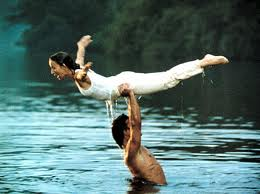 "Patrick Swayze uses Jennifer Grey as a free weight in ""Dirty Dancing."""