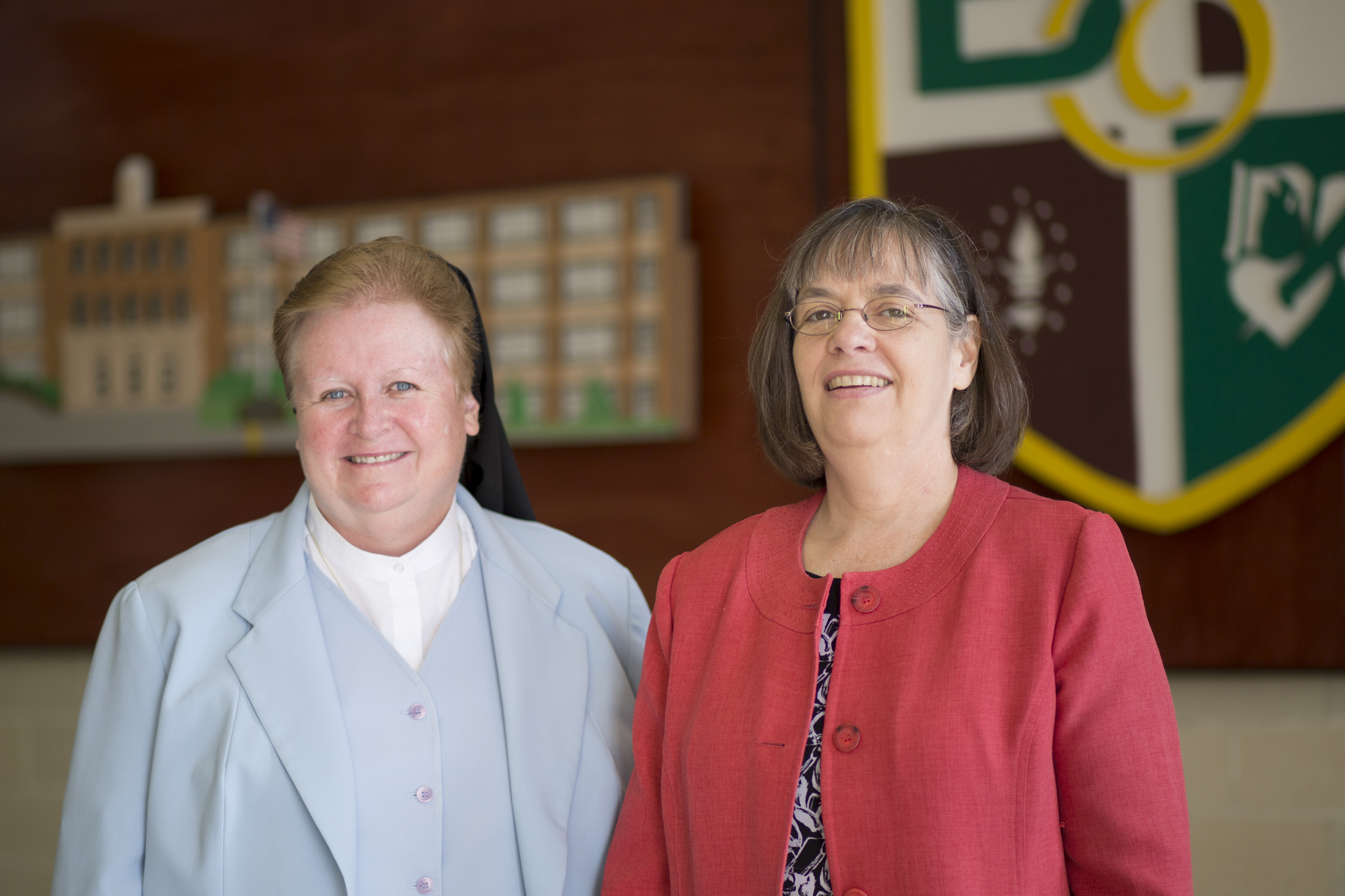 Sister Maureen L. McDermott (left), superintendent of secondary schools for the archdiocese, and and Dr. Patricia Rigby, assistant superintendent, at Monsignor Bonner and Archbishop Prendergast High School in Drexel Hill. The Summer Bridge program for incoming ninth graders expanded to two new sites. (MARGO REED / Staff Photographer )