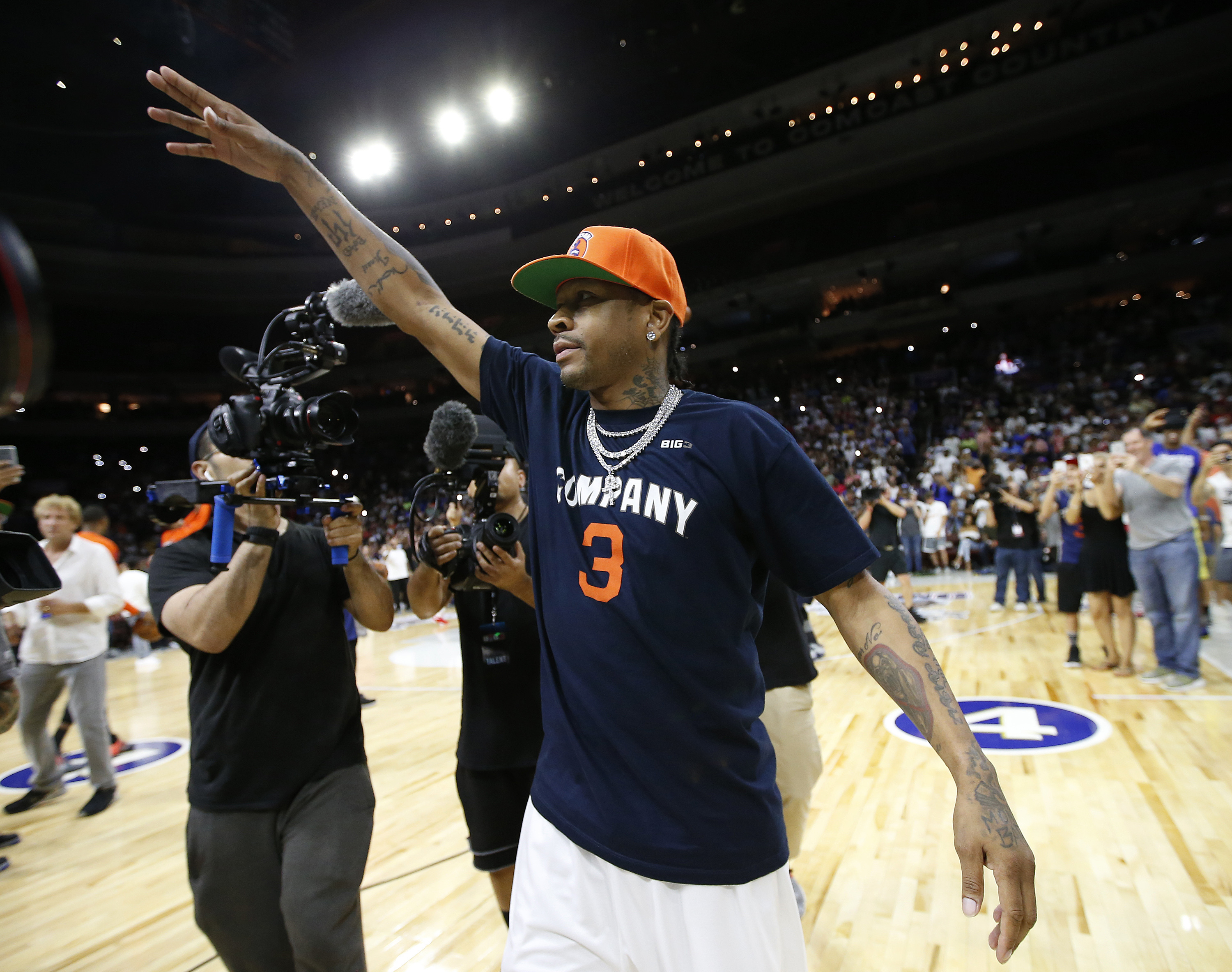 Allen Iverson acknowledges the hometown fans during his introduction before a BIG3 Basketball League in Philadelphia. He did not play in the game.