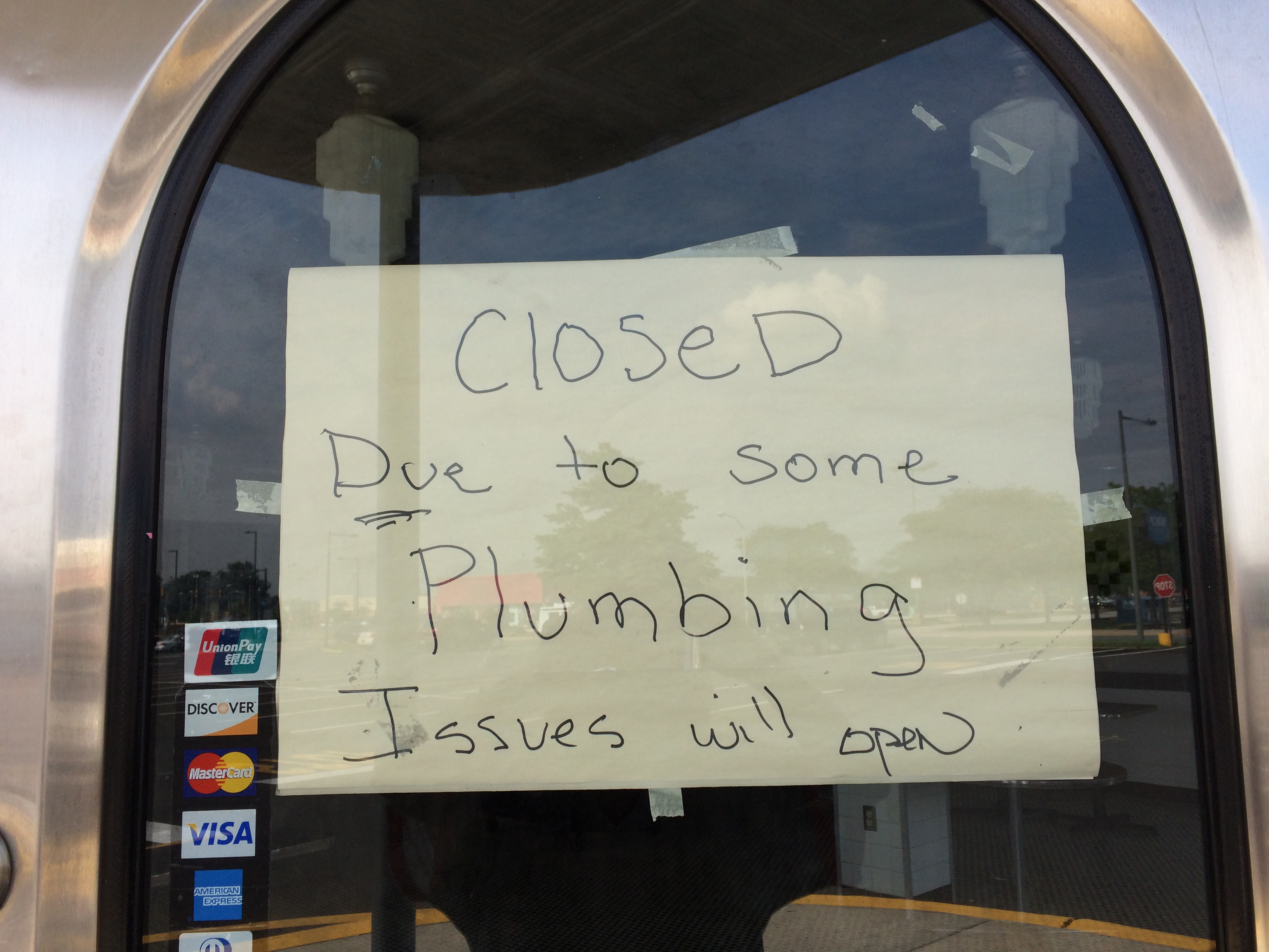 Sign on front door of Jim´s Steaks, Roosevelt Mall, on Aug. 2, 2017.