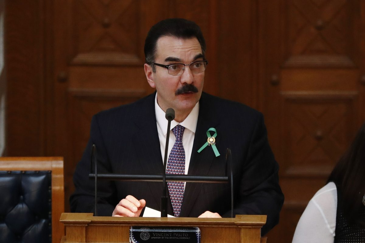 New Jersey Assembly Speaker Vincent Prieto (D. , Hudson) speaks during a meeting in the state Legislature.