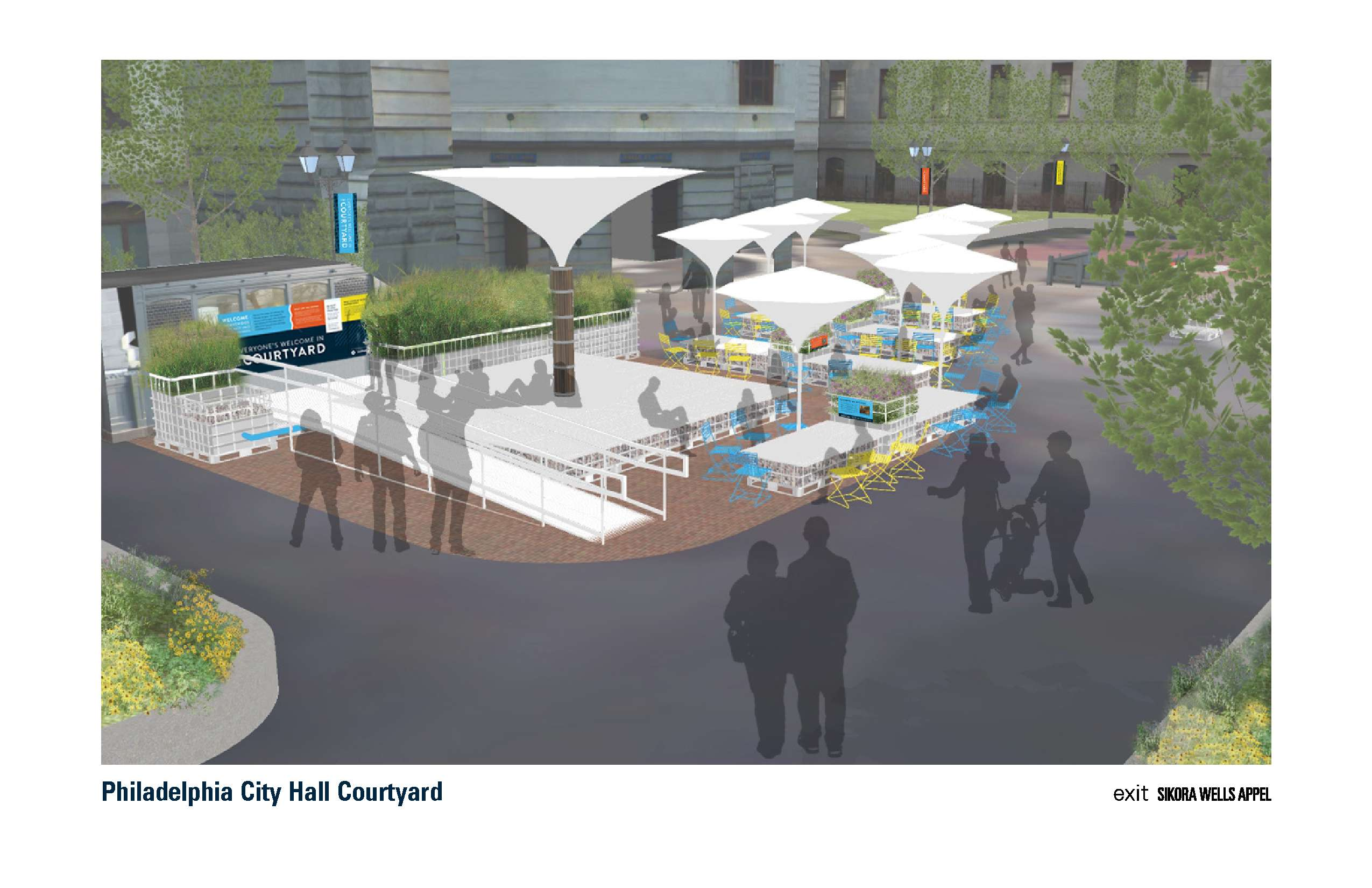 Landscape architecture firm Sikora Wells Appel plans to use water totes and rain-catching umbrellas for a Culture on Tap pop-up beer garden in Philadelphia´s City Hall courtyard this summer.
