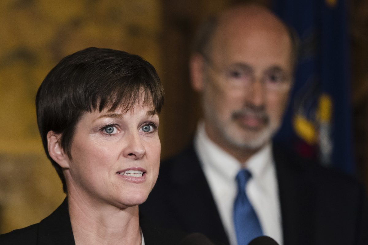 Teresa Miller, accompanied by Gov. Wolf spoke during a news conference in Harrisburg Tuesday about her nomination to lead the proposed Department of Health and Human Services.