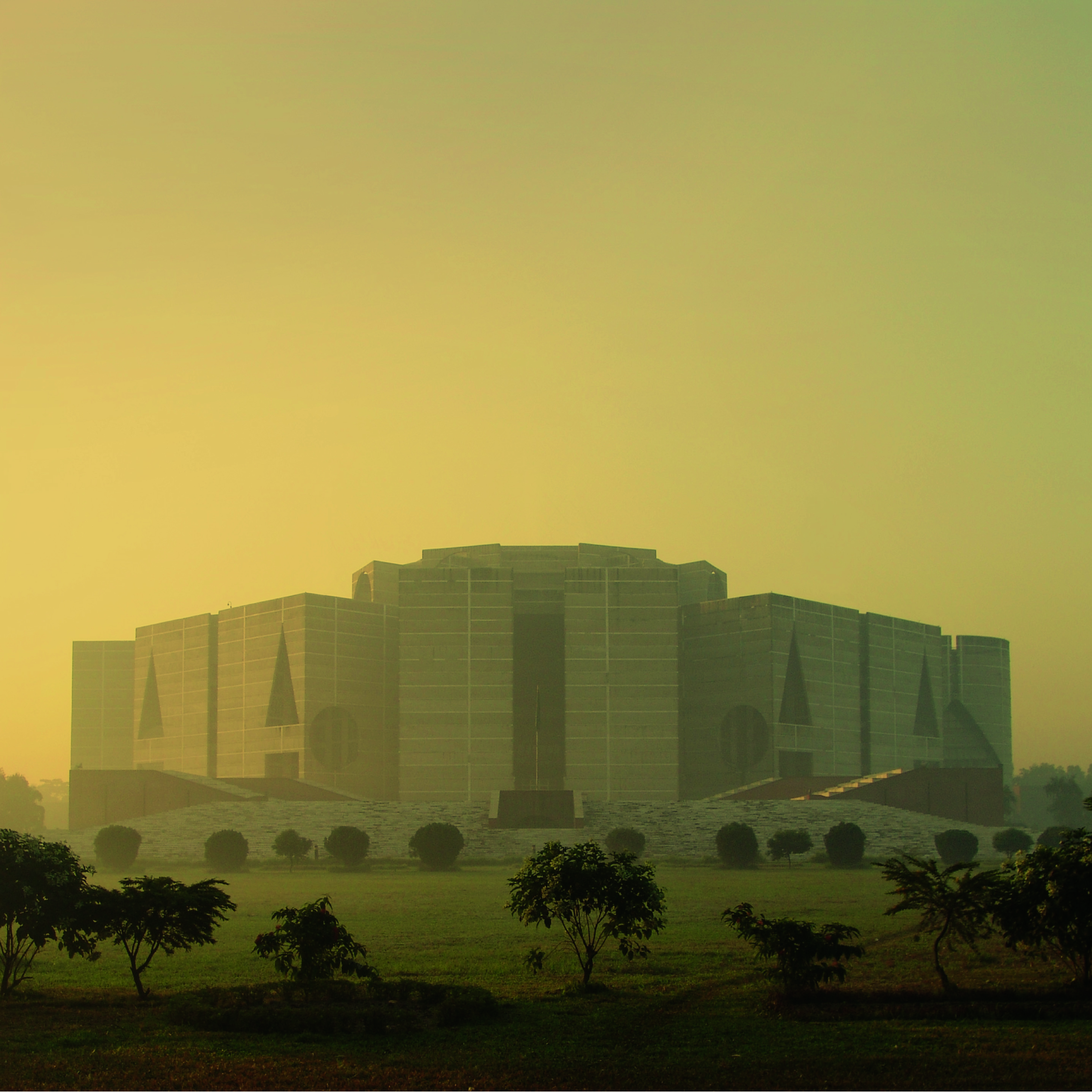 A view of the Bangladesh National Parliament building in Dhaka, built between 1962 and 1983.