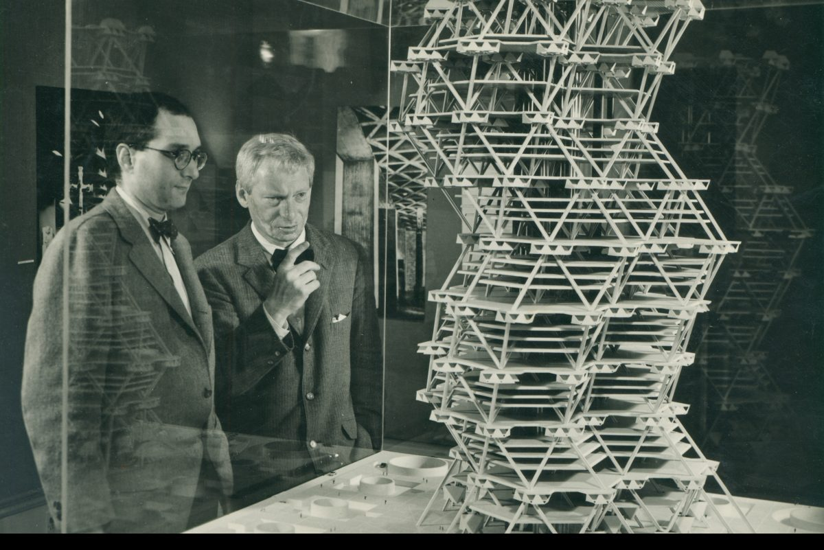 Louis Kahn examines a model of City Tower, a skyscraper proposed for Center City but never built.