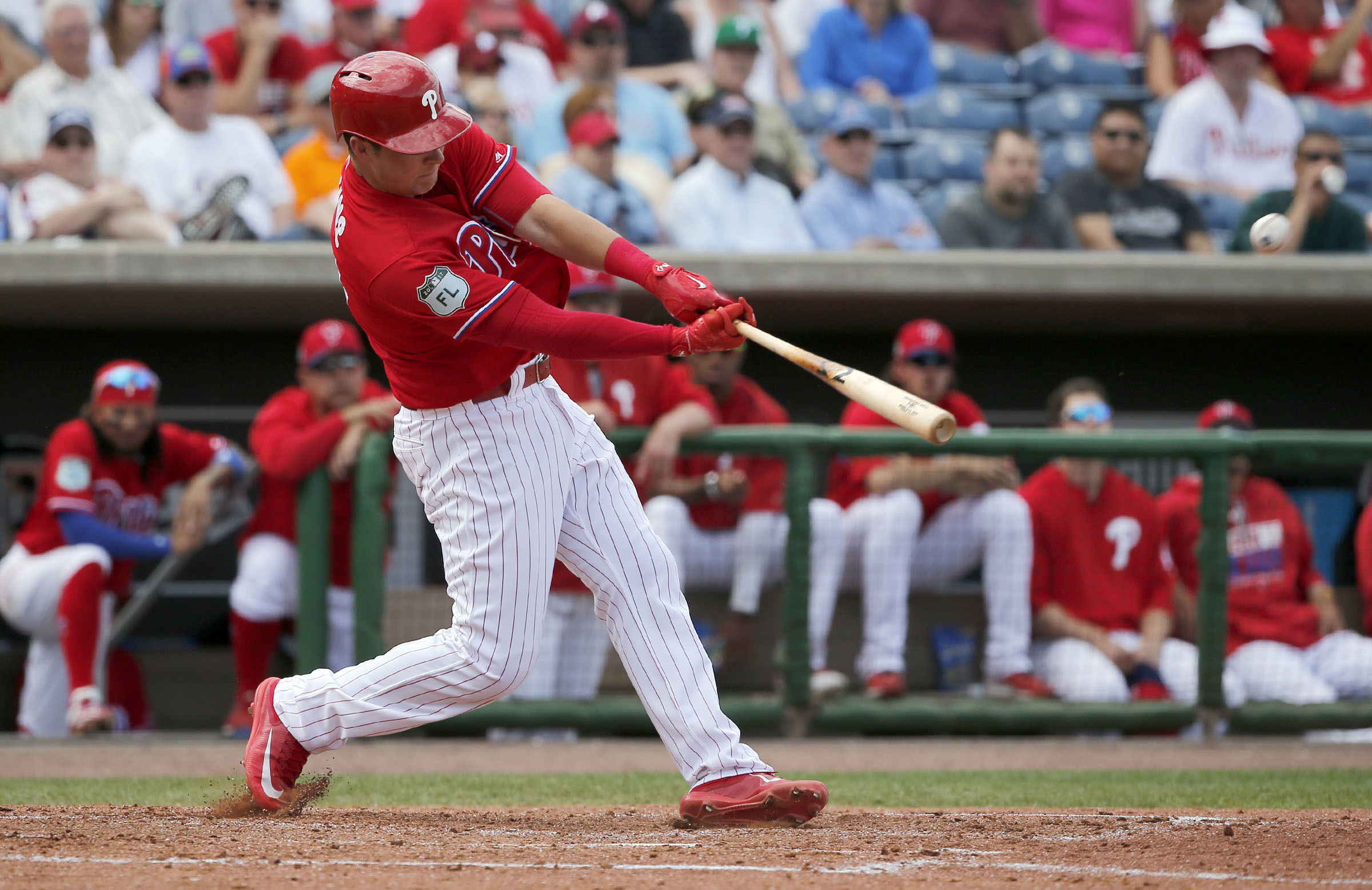 Phillies´ Rhys Hoskins hits a fourth-inning two-run home run against the Detroit Tigers during a spring training game on Sunday, March 5, 2017 at Spectrum Field in Clearwater, FL. YONG KIM / Staff Photographer