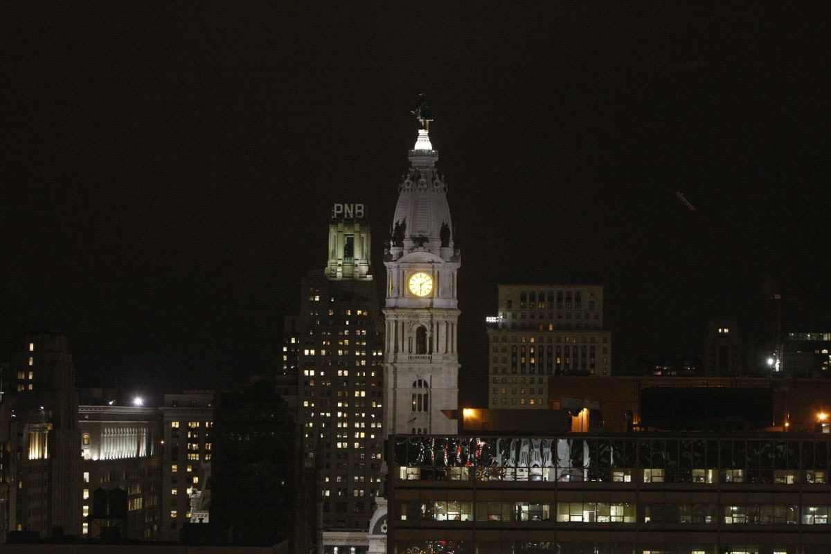 Philadelphia City Hall tower. The city's underfunded pension funds need good years to meet its obligations.