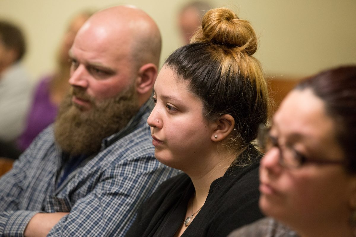 "Samantha Denoto, center, the mother of  3-year-old Brendan Creato, who was found dead in October 2015, in Haddon Township, N.J., listens to testimony during the murder trial  of the boy's father, David ""D.J."" Creato Jr., in Camden County court  April 25, 2017."