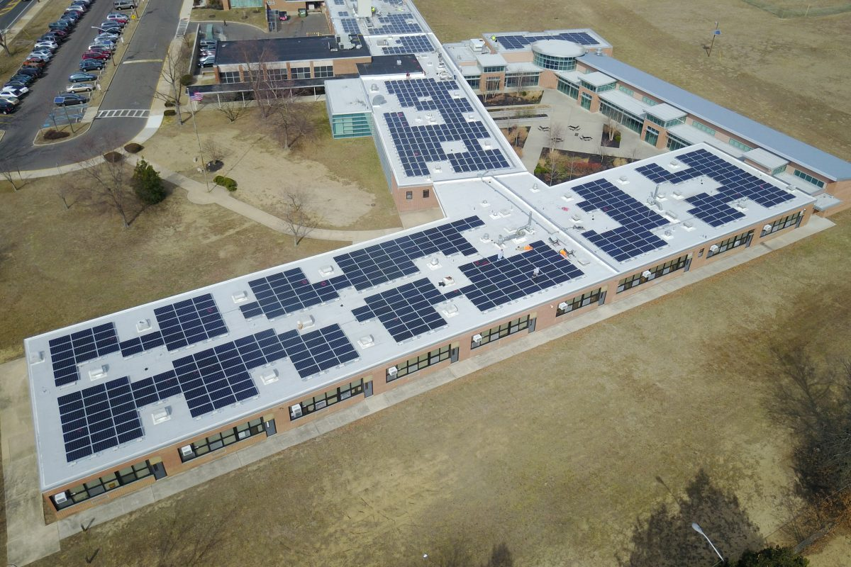 A rooftop solar array at Millbridge Elementary School in Delran, N.J., installed last year by SunVest Solar Inc. SEPTA has chosen SunVest to install similar systems at four of the transit agency's maintenance facilities. (SunVest Solar Inc.)