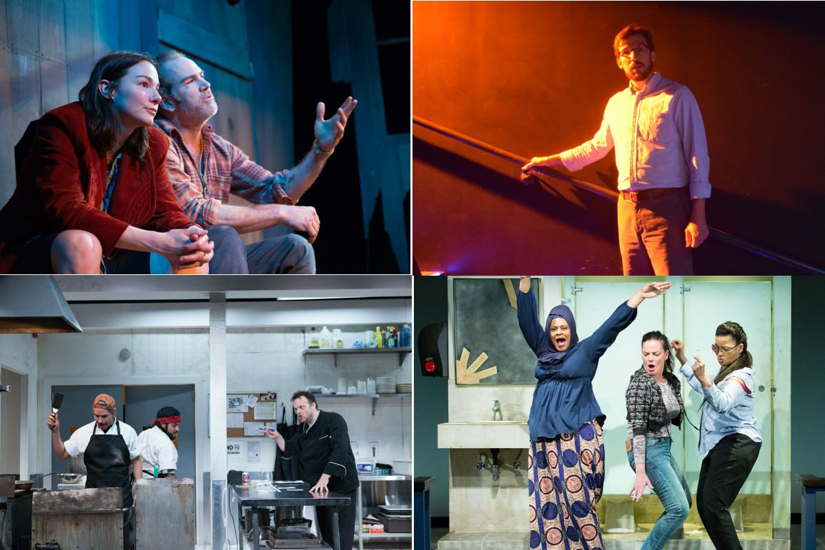 "Rolling World Premieres in Philly theaters (clockwise from upper left): ""The Arsonists"" at the Azuka Theatre; ""Dogs of Rwanda"" at InterAct Theatre; ""Project Dawn"" at People's Light; and ""How to Use a Knife"" at InterAct Theatre."