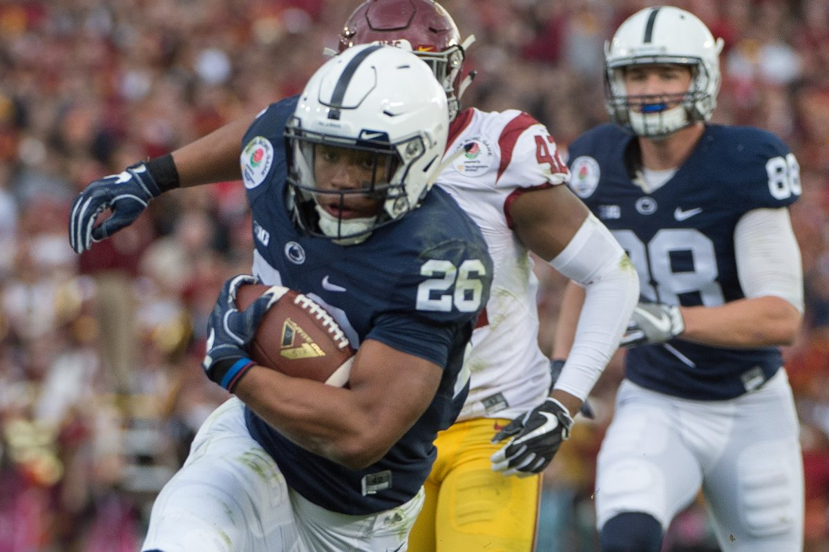 Penn State's Saquon Barkley running for a 24-yard touchdown against USC in the Rose Bowl.