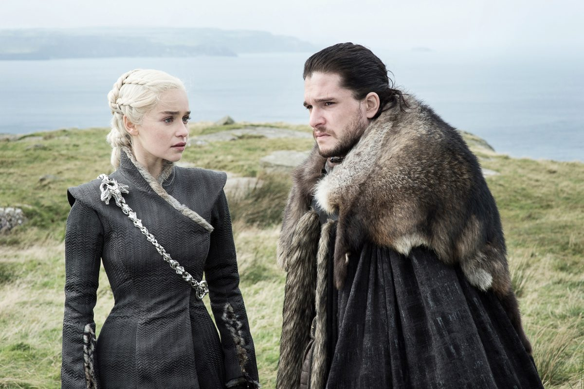 """Emilia Clarke (left) and Kit Harington in a scene from Sunday's """"Game of Thrones."""""""